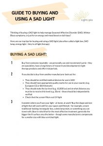 first page of the guide to buying and using a SAD light (click to download a PDF version)