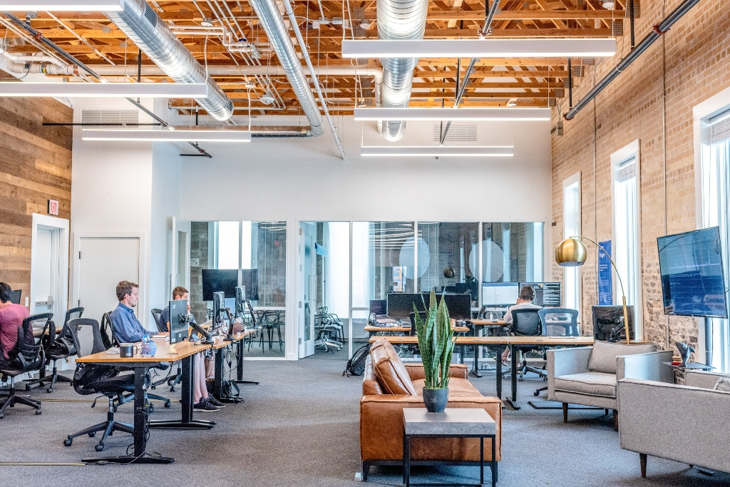 office with lots of natural light and different zoned spaces to allow flexibility in workspace